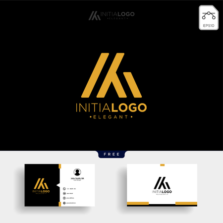 gold luxury and premium initial M or KM logo template vector illustration and get free business card template