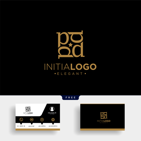 Luxury gold initial D logo template vector illustration and business card design Illustration