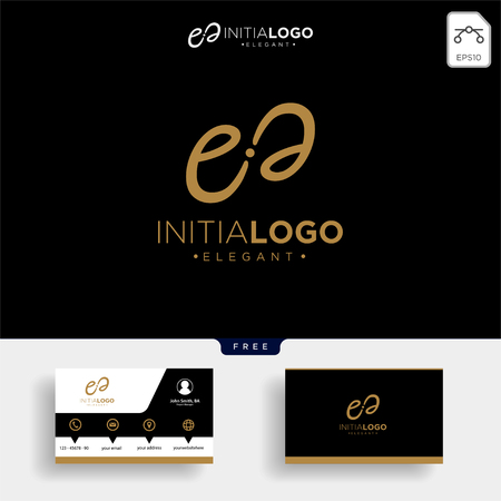 Luxury gold initial E logo template vector illustration and business card design