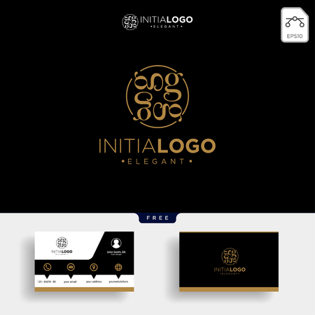 Luxury gold initial G logo template vector illustration and business card design