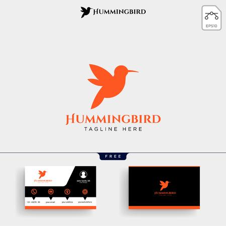 Humming bird beauty logo template vector illustration and business card design Illustration