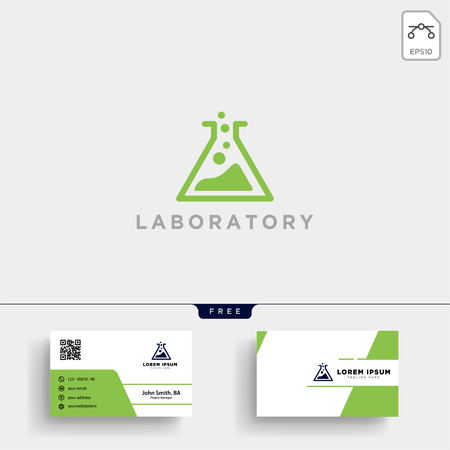 Laboratory logo template vector illustration and business card