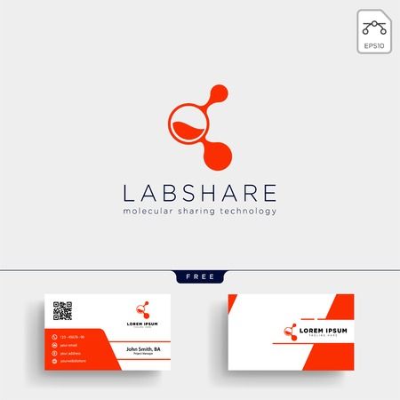 laboratory share technology logo template vector illustration and stationery, business card, letterhead Vettoriali