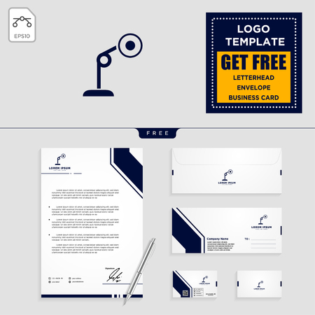 light interior logo template, vector illustration and stationery, letterhead, envelope, business card design