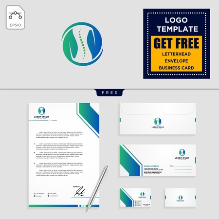 chiropractic leaf logo template vector illustration and stationery, letterhead, envelope, business card design Illustration