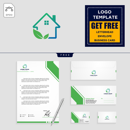 home leaf eco nature logo template, vector illustration and stationery, letterhead, envelope, business card design