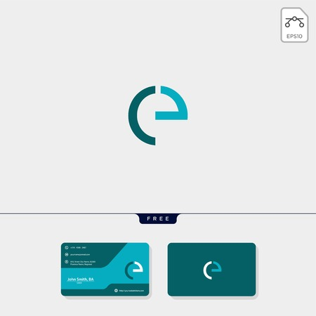 initial CE or EC creative logo template and business card include. vector illustration and logo inspiration