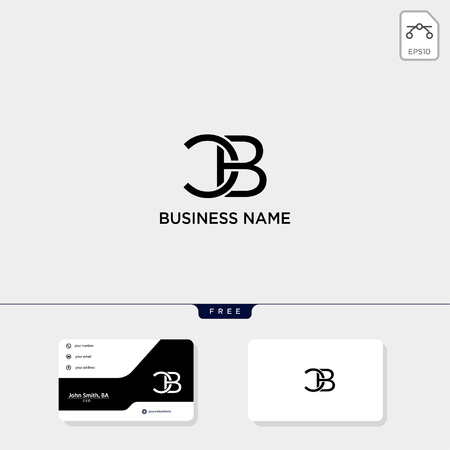 initial CB or BC creative logo template and business card include. vector illustration and logo inspiration Illustration