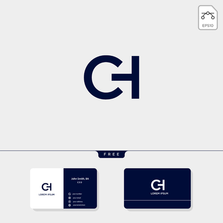 Premium initial CH, HC, C, or H creative logo template and business card design template include. vector illustration and logo inspiration