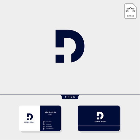 initial D logo template for technology, dental, business corporate vector illustration, business card design template include