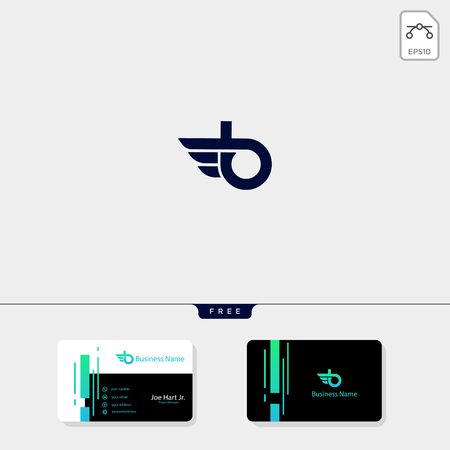 minimal initial B wings creative logo template vector illustration, get free business card design template