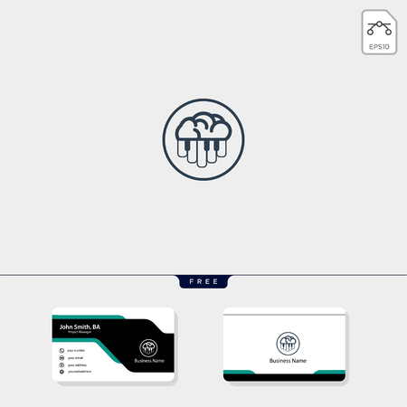 brain and piano concept logo template for corporate vector illustration, free business card design template include