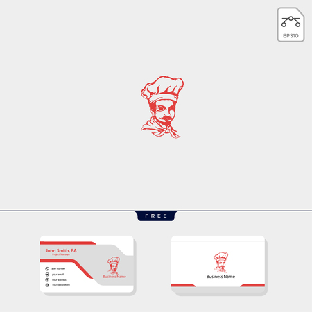 chef logo template for corporate vector illustration, free business card design template include