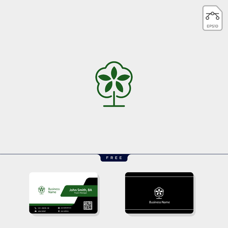 leaf, human concept logo template vector illustration, free your business card design include