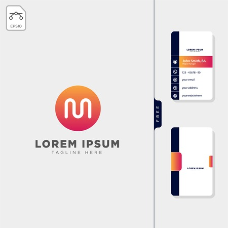 minimal M initial logo template vector illustration,get free business card design