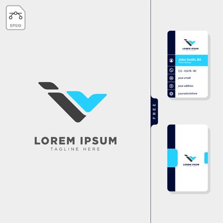 minimal i, iv, or v initial logo template vector illustration free business card template design