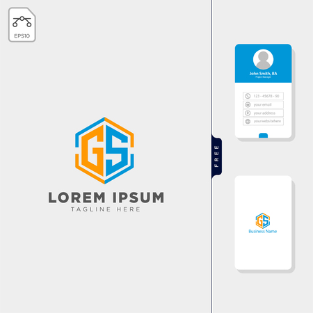 initial g, gs, sg logo template vector illustration, free business card