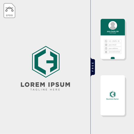 initial C,Cm,CH logo template vector illustration, free business card design template Illustration
