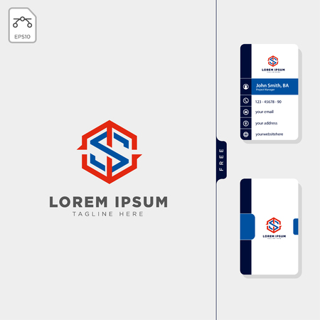 sport initial ts, ms logo template vector illustration, free business card design template Иллюстрация