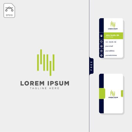 minimal MV initial wave logo template vector illustration get free business card design template