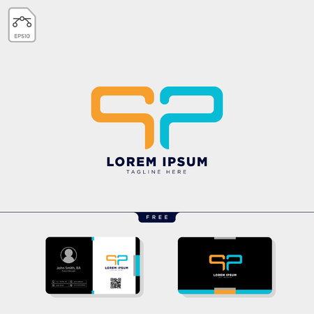 initial P or pp logo template vector illustration and free business card design template