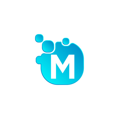 Letter m Bubble logo template or icon vector illustration, isolated elements