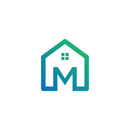 letter m architect, home, construction creative logo template, icon isolated elements Ilustracja