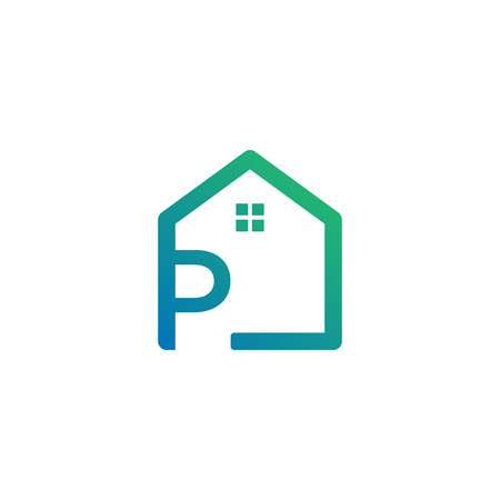 letter p architect, home, construction creative logo template, icon isolated elements