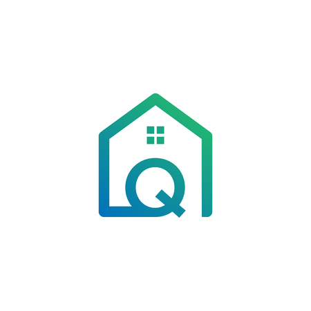 letter q architect, home, construction creative logo template, icon isolated elements
