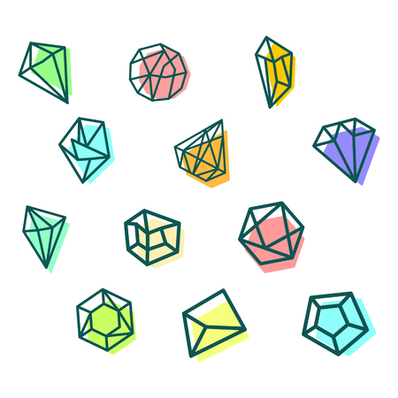 stone, diamond, gem creative logo template, icon isolated elements vector illustration  イラスト・ベクター素材