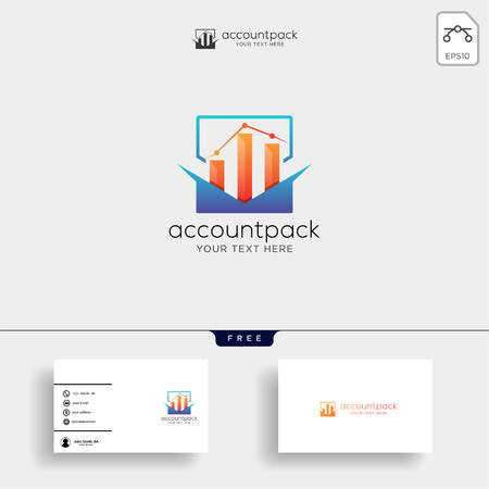 accounting, finance creative logo template vector isolated with business card design - vector