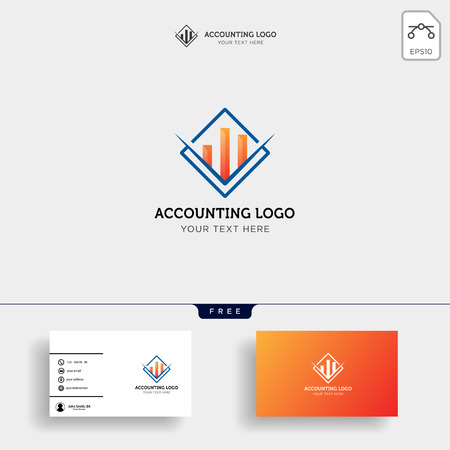accounting, finance creative logo template vector isolated with business card design - vector Ilustração