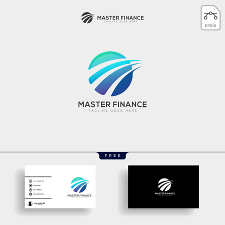 accounting, finance creative logo template vector isolated with business card design - vector Stock Illustratie