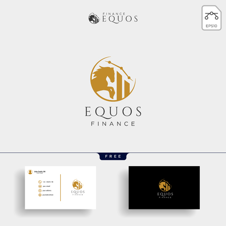 horse financial, insurance creative logo template vector illustration, icon elements isolated