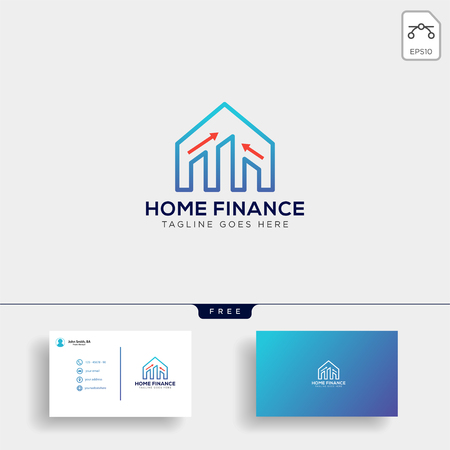 financial home, logo template vector illustration with business card, icon elements isolated