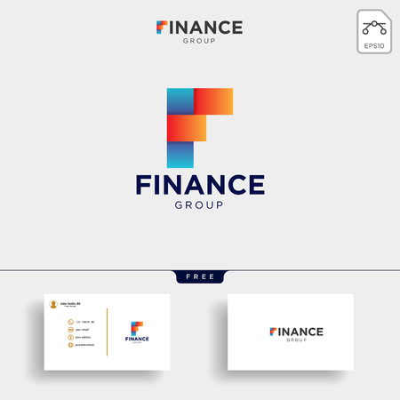 accounting and financial logo template vector illustration, icon element with business card - vector