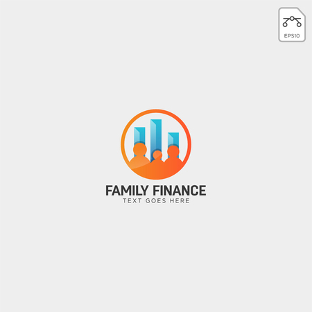 family finance, business logo template vector illustration icon element isolated