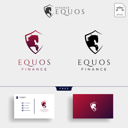 Ilustración de vector de plantilla de logotipo creativo de seguro financiero de caballo, elementos de icono aislados