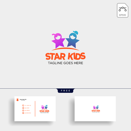 Star Kids Creative idea logo template vector illustration with business card - vector