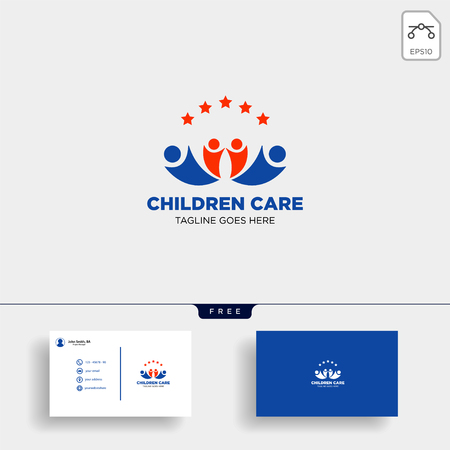 Momy and child, children care logo template vector isolated with business card - vector