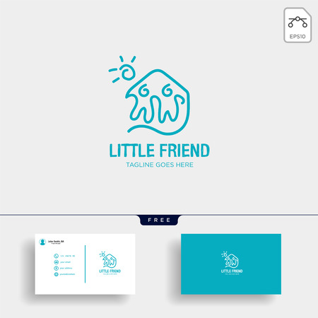Little Friend Happy logo template vector illustration with business card - vector