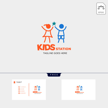 children playing group education logo template vector illustration, icon elements isolated with business card - vector