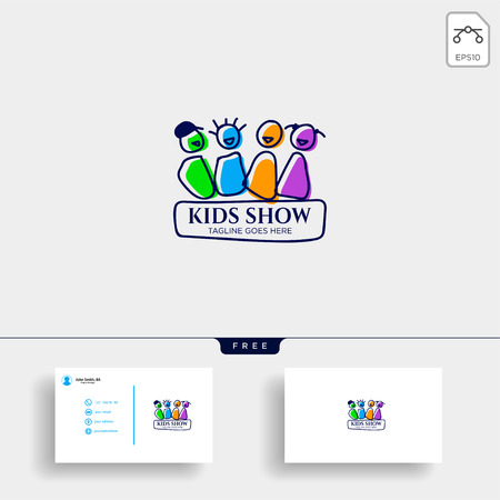 children playing group education logo template vector illustration, icon elements isolated with business card - vector Illustration