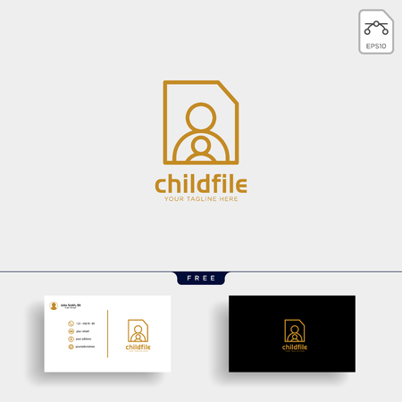 children care, baby care logo template vector illustration, icon elements with business card