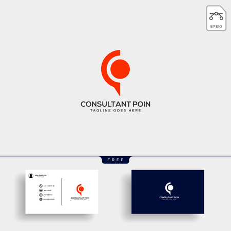 Business Consult logo template with business card vector isolated, icon element Stock Vector - 116116454