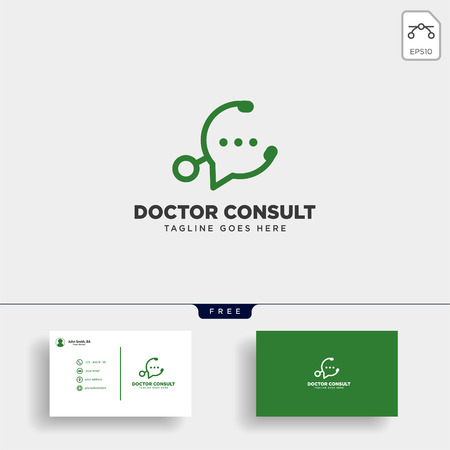 Odctor consultant, message communication logo template with busines card, icon elements isolated