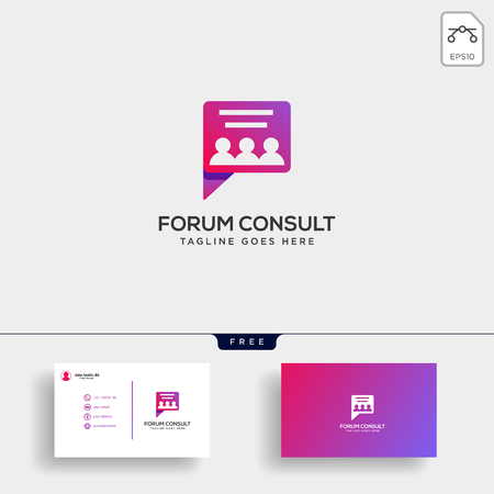 Message Communication, consulting logo template with business card vector illustration, icon elements isolated