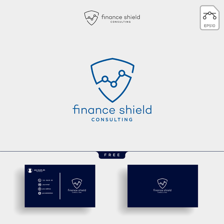 shield stats business logo template vector illustration with business card Иллюстрация
