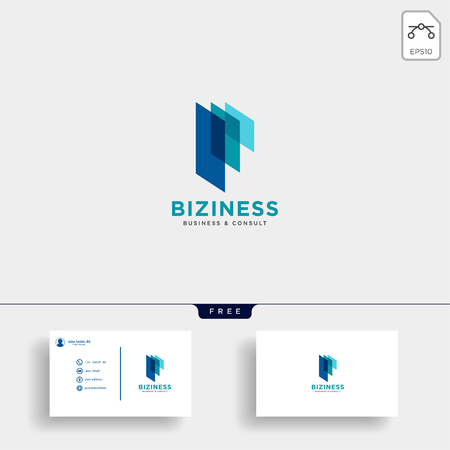 consulting, consult graphic statistic logo template with business card vector illustration