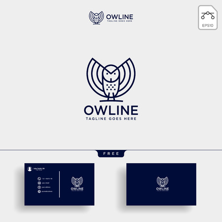 the owl, bird business consulting logo template vector illustration with business card